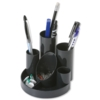 Desk Tidy 5 Tube &amp; 2 Shallow Trays Black